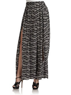Thakoon Addition - Silk Contrast-Print Maxi Skirt