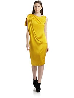 Thakoon Addition - Silk Satin Asymmetric Sleeve Dress