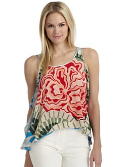 Thakoon Addition - Silk Floral Side-Ruffle Tank Top
