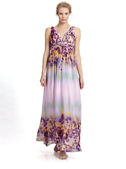 Aidan Mattox - Floral Chiffon Maxi Dress