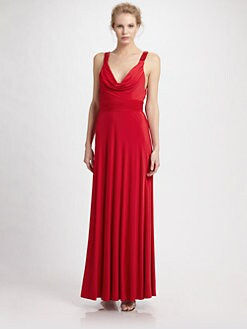 Aidan Mattox - Cowlneck Jersey Gown/Red