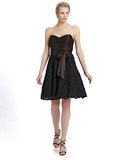 Aidan Mattox - Pleated Strapless Rosette Dress