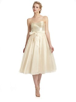 Aidan Mattox - Sequined Organza Spaghetti Strap Dress