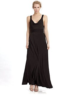 Aidan Mattox - Cowlneck Jersey Gown/Black