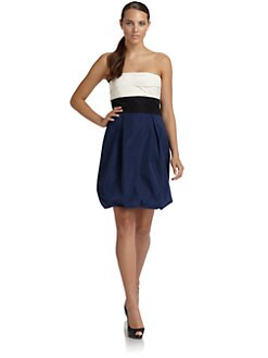 BCBGMAXAZRIA - Ruched Strapless Colorblock Dress
