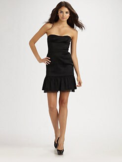 BCBGMAXAZRIA - Strapless Flutter Hem Satin Dress