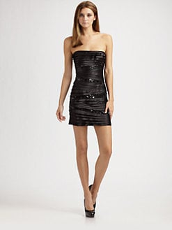 BCBGMAXAZRIA - Strapless Sequined Dress