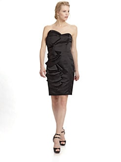 ABS - Strapless Satin Ruffle Dress