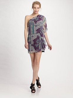 ABS - One Shoulder Floral Paisley Dress