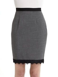 Rebecca Taylor - Lace Hem Pencil Skirt