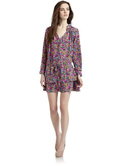 Rebecca Taylor - Silk Floral Drop-Waist Dress