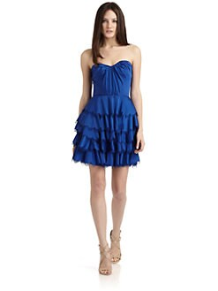Rebecca Taylor - Satin Tiered Eyelash Bustier Dress