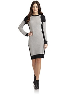 Qi New York - Victoria Striped Cashmere Sweater Dress