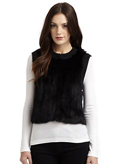 Qi New York - Rabbit Fur & Wool  Knit Vest