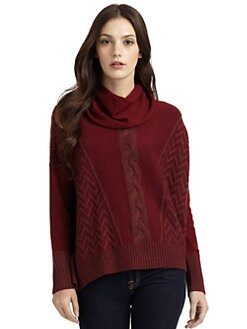 Qi New York - Darby Cashmere Stitched Cowlneck Sweater
