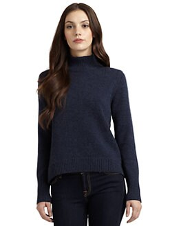 Qi New York - Fallon Texture Block Turtleneck Sweater