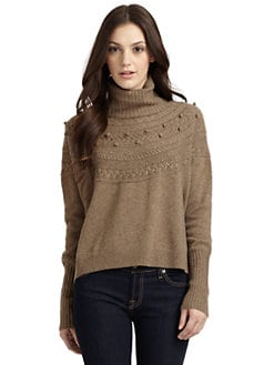 Qi New York - Renaye Cashmere Cable Turtleneck Sweater