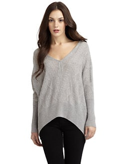 Qi New York - Kendall Cashmere Cable V-Neck Sweater