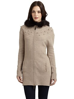 Qi New York - Liana Fur-Trim Cashmere Sweater