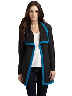 Qi New York - Hartley Cashmere Tipped Cardigan