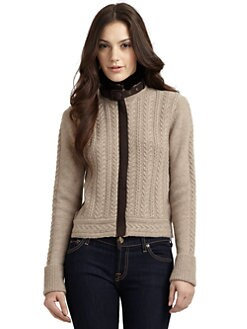 Qi New York - Benedict Cable Knit Fur Collar Sweater