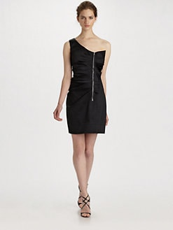 Phoebe Couture by Kay Unger - One Shoulder Zip Ruffle Dress