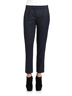Cut 25 by Yigal Azrouel - Leather Trim Gabardine Pants