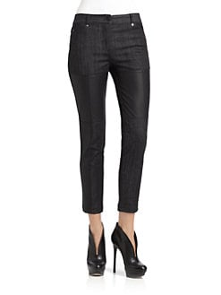 Cut 25 by Yigal Azrouel - Leather-Paneled Straight-Leg Jeans
