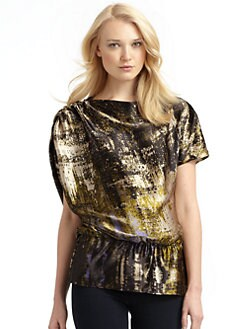 Josie Natori - Draped Silk Blouson Top