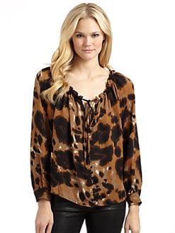 Chelsea Flower - Silk Leopard Print Blouse