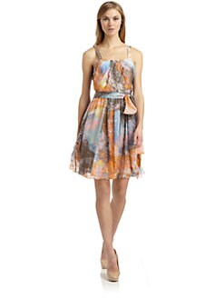 Twinkle by Wenlan - Silk Crepe Lagoon Print Dress