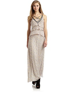 Twinkle by Wenlan - Strappy Silk Chiffon Maxi Dress