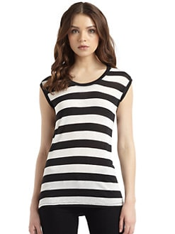 BCBGMAXAZRIA - Striped Sleeveless Tee