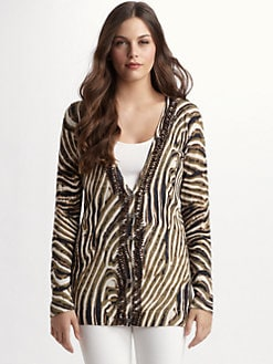 Josie Natori - Beaded Animal Print Cardigan