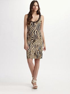 Josie Natori - Beaded Animal Print Tank Dress