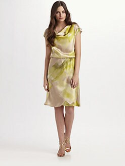 Josie Natori - Silk Cowlenck Print Dress