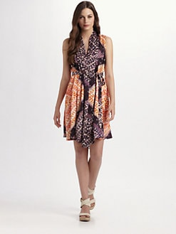 Josie Natori - Exotic Print Hammered Silk Scarf Dress