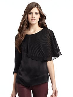 BCBGMAXAZRIA - Silk Satin Seamed Top