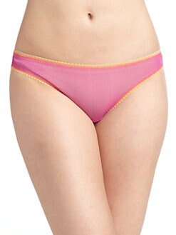 OnGossamer - Colorblock Lace Mesh Bikini Panties