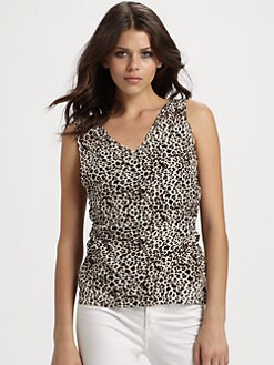 Gemma - Draped Silk Wrap Animal Top/Taupe Leopard