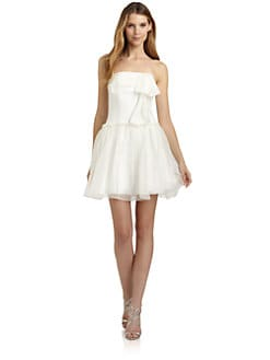 ABS - Silk Organza Strapless Dress