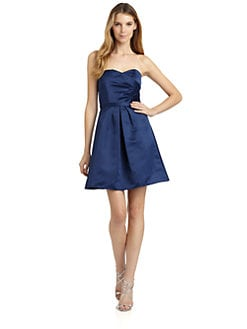 ABS - Strapless Ruched Satin Dress
