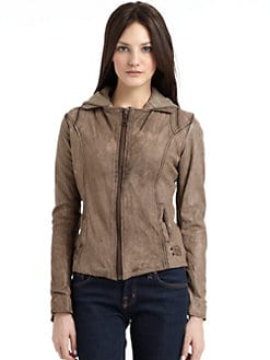 Doma - Distressed Leather Jacket with Hood