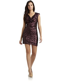 French Connection - Sequined Drape-Front Dress