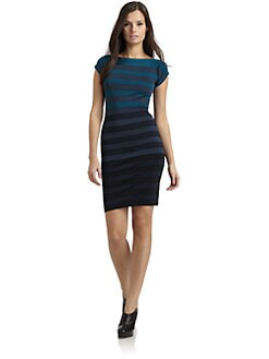 French Connection - Textured Ombre Stripe Powerknit Dress