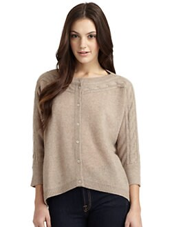 Qi New York - Shayla Cashmere Cable Trim Cardigan