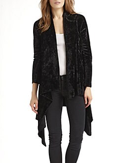 Alice + Olivia - Chenille Cascade Long Cardigan/Black