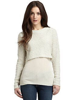 Qi New York - Sparkle Boucle & Ribbed Knit Top