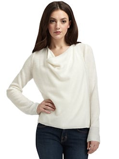 Qi New York - Cashmere Shimmer-Trim Wrap Sweater