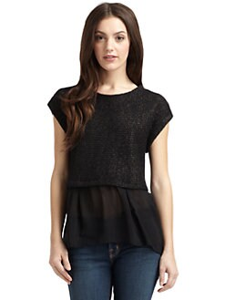 Qi New York - Cashmere Shimmer Knit & Chiffon Top